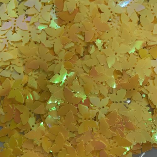 Посыпка Блестки бабочки желтые для украшения слайма