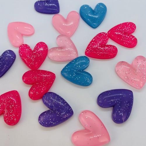 Шармик для слайма блестящие сердечки микс