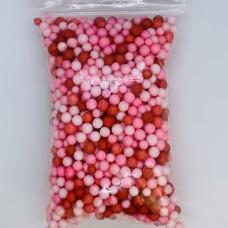 Шарики пенопластовые микс красно розовый крупные