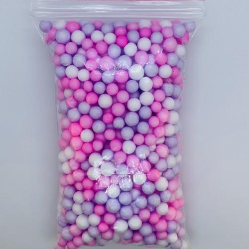 Шарики пенопластовые микс сиренево-розовый крупные
