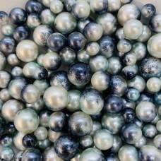 Жемчужины микс серо-белые для украшения слаймов   (20 грамм)