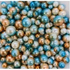 Жемчужины микс сине-оранжево-белые для украшения слаймов  (20 грамм)