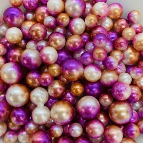 Жемчужины микс оранж-фиолетовые для украшения слаймов  (20 грамм)