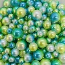 Жемчужины микс зелёно-жёлтые для украшения слаймов   (20 грамм)
