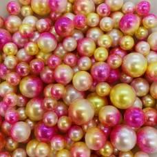 Жемчужины микс желто-розовый для украшения слаймов (20 грамм)